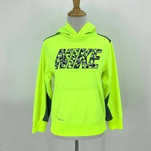 Nike Therma-Fit Sweatshirt Youth Size M Bright Neon Big Spell-Out Logo Hoodie